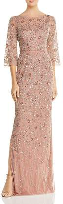 Aidan Mattox Embellished Boatneck Gown