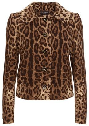 Dolce & Gabbana Wool Leopard Print Jacket