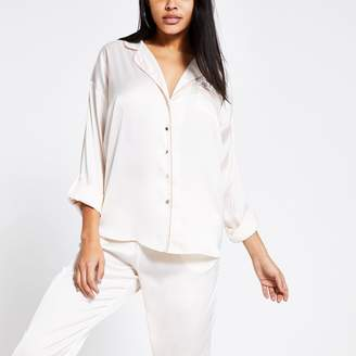 River Island Womens Cream loose fit satin pyjama shirt