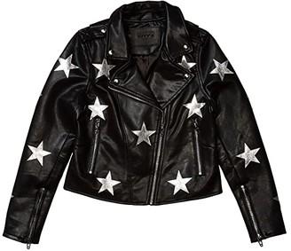 Blank NYC Kids Vegan Leather Moto Jacket with Stars (Big Kids) (Stardust) Girl's Clothing