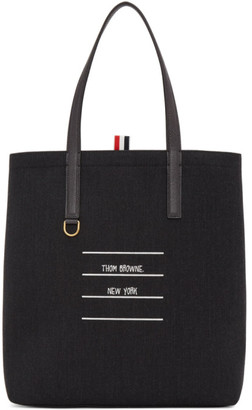 Thom Browne Grey Canvas Lined Tote