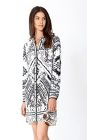 Hale Bob Gizela Buttoned Silk Dress In Black and White