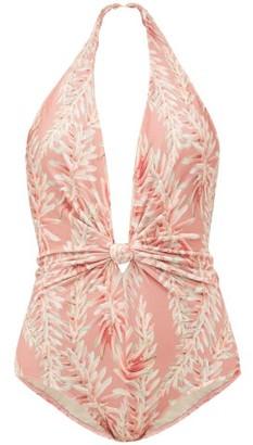 Adriana Degreas Halterneck Aloe-print Swimsuit - Pink Print