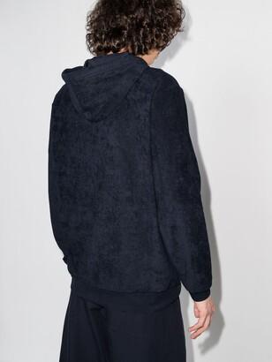 Sunspel Blue Organic Cotton Towelling Zip-Up Hoodie