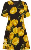 Dolce & Gabbana Floral-print Wool-crepe Mini Dress - Yellow