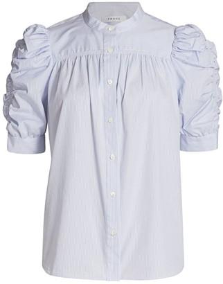 Frame Smocked Puff-Sleeve Shirt