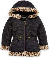 Asstd National Brand Pistachio Heart Quilted Animal-Print Jacket - Preschool Girls 4-6x