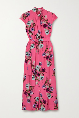 Erdem Finn Belted Floral-print Crepe Midi Dress - Bubblegum