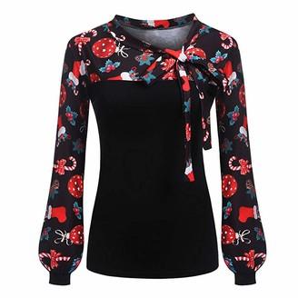 VECDY Women's Fashion Shirt Bow Tie Striped Long-Sleeved Slim Stitching Temperament Elegant Mature Woman Shirt Top Upper Outer GarmentY-Christmas-Black 16