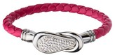 "INOX Jewelry Women's Steel Art Cherry Italian Leather Bracelet with Preciosa Crystals Magnetic Closure (7.25"")"