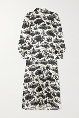 Reformation Maple Printed Silk-satin Midi Dress - White