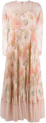 RED Valentino RED(V) pleated floral dress
