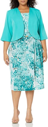 Maya Brooke Women's Size Brushstroke Petals Jacket Dress Plus