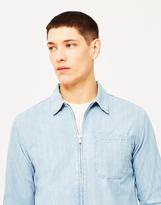 Edwin Demo Zip Denim Shirt Blue