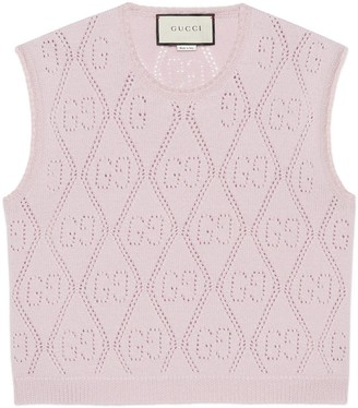 Gucci GG perforated knit wool crop vest