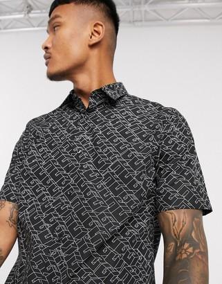 HUGO BOSS Ebor bauhaus logo all over print short sleeve shirt in black