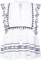 Sea tassel string frilled blouse