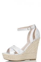 Quiz Silver Shimmer Cross Strap Hessian Wedges
