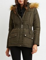 Charlotte Russe Faux Fur-Trim Hooded Puffer Jacket