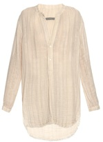 Raquel Allegra Step-hem striped cotton shirt
