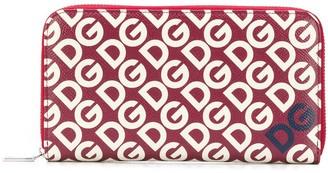 Dolce & Gabbana Logo Print Zip Around Wallet