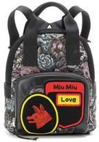 Miu Miu Beaded jacquard and leather backpack