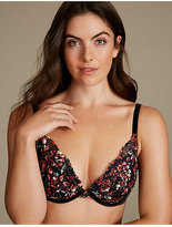 M&S Collection Printed Lace Padded Push-Up Plunge Bra A-E