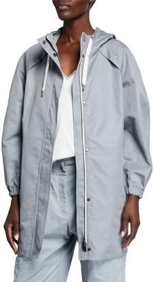 Brunello Cucinelli Cotton Ramie Mid-Length Zip-Front Coat