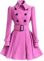 Moollyfox Women Woolen Thick Warm Winter Long Coat Hood Overcoat Jacket Outwear S