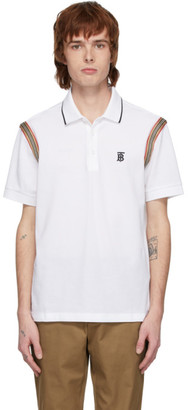 Burberry White Kian Icon Stripe Polo