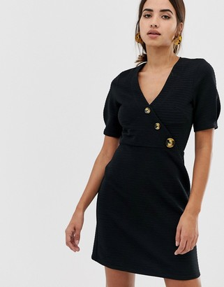 Asos Design DESIGN mini textured pencil dress with faux horn buttons