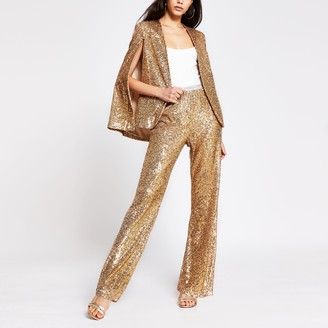 River Island Womens Gold sequin trousers