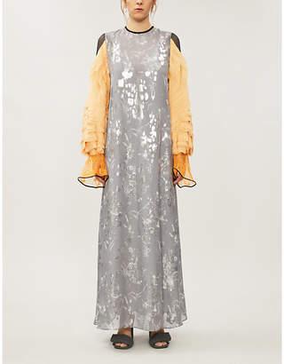 MAME KUROGOUCHI Floral-pattern silk-jacquard maxi dress
