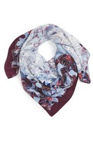 Women's Halogen Floral Square Silk Scarf