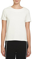 1 STATE Crew Neck Short Sleeve Solid Quilted Knit Top