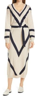 Ted Baker Bertta Long Sleeve Wool Blend Midi Sweater Dress
