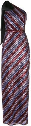 Marchesa Notte Sequin-Embellished One-Shoulder Gown