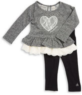 Calvin Klein Girls 2-6x Lace-Trimmed Heart Tunic and Leggings Set