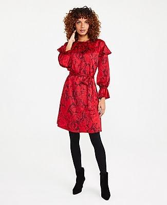 Ann Taylor Python Print Tie Waist Flare Dress