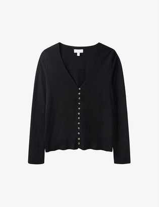 The White Company Jersey button through long sleeve T- Shirt