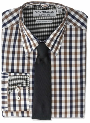 Nick Graham Men's Stretch Modern Fit Mini Check Dress Shirt and Solid Tie Set