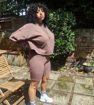 adidas Plus New Neutrals logo legging shorts in brown