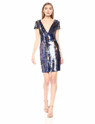 Dress the Population Women's Zoe Plunging Sequin Mini Dress