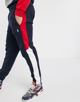 Polo Ralph Lauren tapered jogger in navy colour block with polo branding