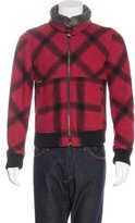 Dolce & Gabbana Plaid Fur-Trimmed Jacket