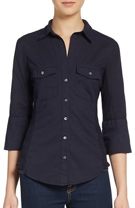 James Perse Ribbed Panel Button-Front Top
