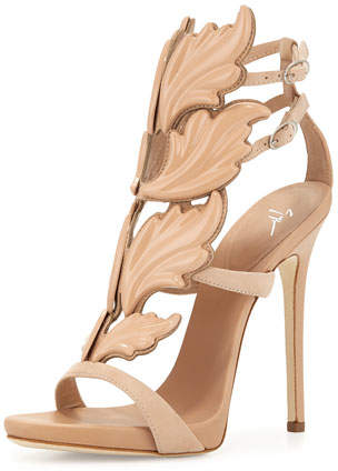 Giuseppe Zanotti Wings Suede High-Heel Sandals, Fondotina