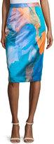 Milly Watercolor-Print Midi Skirt, Teal