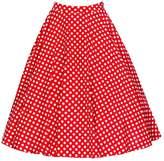 LECIMO Women's High Elastic Waist Flare Pleated A-line Midi Skirt (,Size S)