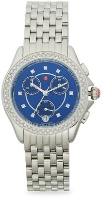 Michele Stainless Steel Diamond Bracelet Chronograph Watch